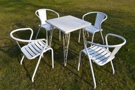 Garten Tisch Weiss Metall Mit 4 Metall Stülen